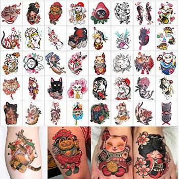 40 Sheets different designs of ukiyoe cat tattoo stickers /
