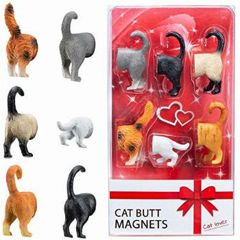 Cat Butt Refrigerator Magnets -Ready Gift Set of 6 for Cat