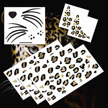Leopard Face Temporary Tattoo Pack (Black & Gold)  