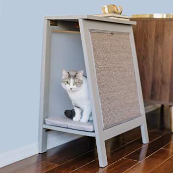 THE REFINED FELINE Wooden Cat Furniture Bed Scratching Post,