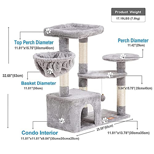 Heybly Cat Tree Cat Tower Condo with Sisal-Covered