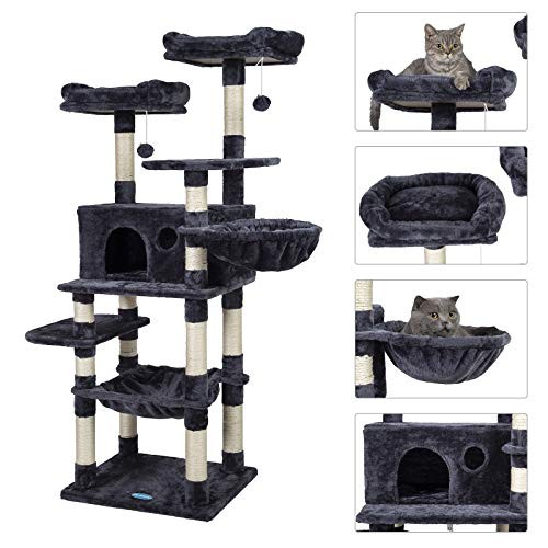 Hey-brother Multi-Level Cat Tree Condo for Large Cats, Cat