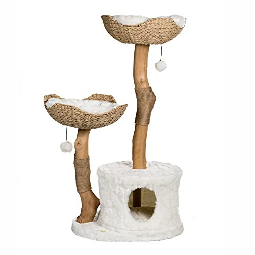 Modern Cat Tree Tower, Real Branch Luxury Cat Condo, Wood